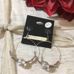 Jewelry - Foil Bead Large Hoop Dangle Earrings